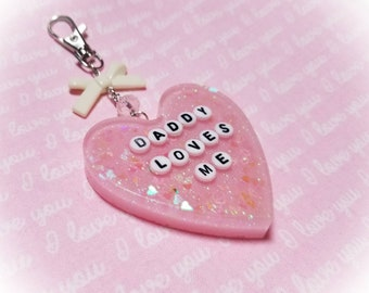 ABDL Daddy Loves Me Pink Glitter Heart Keychain