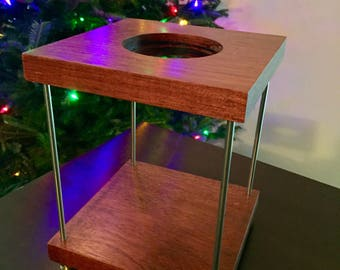 Pour Over Coffee Stand - Beautiful minimalist cherry wood coffee stand, holds V60 and Aeropress, water resistant wood, brass/nickel accents