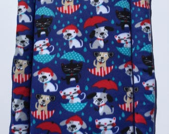 Blue Dog Bed, Kennel Crate Pad, Raining Cats and Dogs Fabric, Washable and Easy to Clean