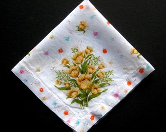 Vintage Handkerchief - Yellow Tulips, Spring or Summer Handkerchief, Vintage Hankie, Vintage Hanky, Floral, Flowers, Cotton, Collectible