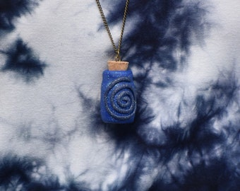 Spiral Galaxy Fairy Jar Necklace