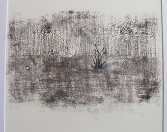 """Reeds and Water woodcut 12"""" square"""