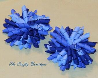 Blue Korker Bow, Dark Blue Bow, Light Blue Bow, Large Blue Korker, Small Blue Korker, Blueberry Hair Bow, Korker Pigtails, Blue Cheer Bow