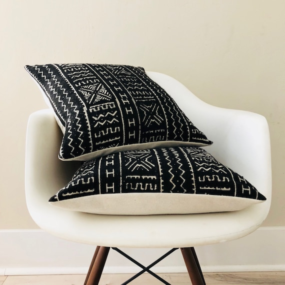 "Boho Black White Tribal Pillow Cover 18""x18"" Square Cushion Pillow Ethnic Bohemian African Geometric Motif MudCloth Boho Pillow"