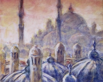 Istanbul, original painting. Free shipping