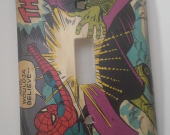 Vintage Classic Spiderman Comic Book Light Switch Plate Cover