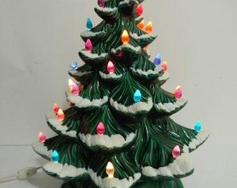 "Ceramic Christmas Tree Snow Capped Atlantic Mold 16"" Vintage Lighted 1976"