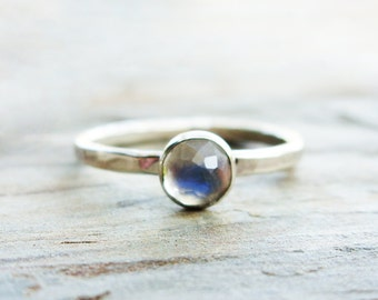 Sterling Silver Moonstone Stacking Ring - 5mm Rose Cut Natural Rainbow Moonstone with Hammered Silver Band - Faceted Natural Gemstone Ring