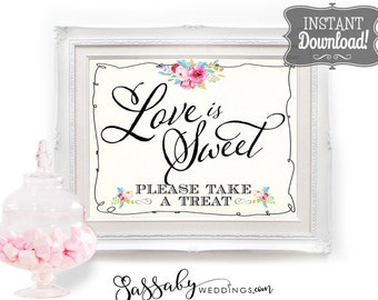 Love is Sweet Candy Buffet Poster - INSTANT DOWNLOAD - Printable Wedding Sign, Candy Station, Sweets, Treats, Reception, Dessert, Decoration
