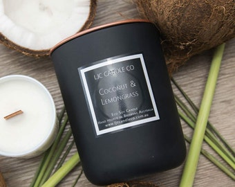 Large COCONUT & LEMONGRASS Soy Candle. 90 Hour burn time. Hand-poured.