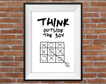Think Outside The Box - Digital Print Quote - Motivational Quote - Gift Idea - Typography Quote Poster - Printable Wall Art