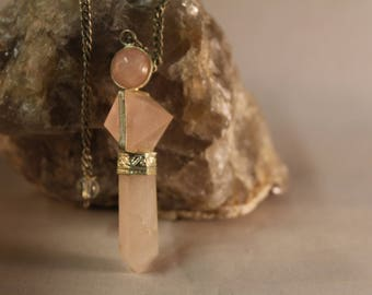 Rose Quartz Pendulum six sided #162