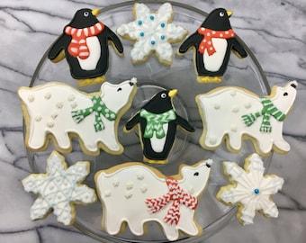 Polar Bears and Penguins Festive Cookies