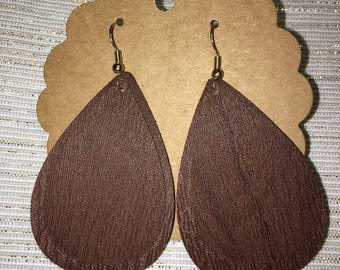 Double Leather Teardrop Earrings