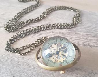 1 long ball - brass mechanical pocket watch