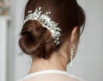 Leaf hair comb Silver headpiece Wedding headpiece Silver leaf headpiece Greek headpiece Bridal hair piece Silver leaf hair comb Bridal comb