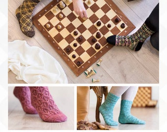 Checkers and Mates - a collection of four sock patterns by Anita Grahn, sizes Ladies XS, S, M and L, sock patterns, chess, checkers,diamonds