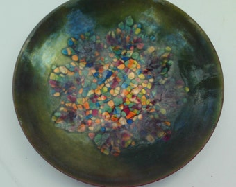 Green multi colored Enamel Dish Mid Century Modern Flower Design