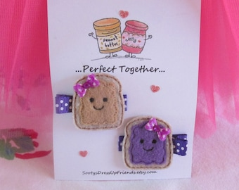 PERFECT TOGETHER~ Peanut Butter & Jelly Hair Clip Set