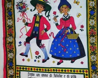 Vintage New old stock Folk Art kitchen towel