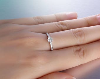 Solitaire CZ Sterling Silver Engagement Wedding Ring Girl Women Size 5-8 Ss2161