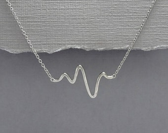 Gift for Her, Sterling Silver Heartbeat Necklace, Girlfriend Gift, Valentines Gift, Gift for Mom, Sterling Silver Necklace