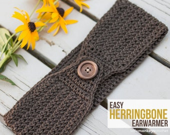 Easy Herringbone Earwarmer Headband Crochet Pattern PDF (Crochet Pattern by Little Monkeys Crochet) Crocheted Headband Pattern Ear Warmer