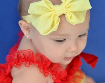 Pale Yellow Chiffon hair bow Headband  vintage hairbow baby headband fabric knot bow