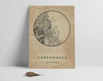 Copenhagen City Map, Affiche Scandinave, Scandinavian Print, Denmark Map Print, Copenhagen Map Print, Street Map Print, Instant Download,