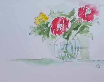Original watercolor flowers