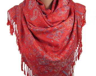 Pashmina Scarf   Gift For Wife  Red Scarf Shawl Winter Scarf Paisley Scarf    Women Accessories Gift For Women Gift For Her Gift For Mom