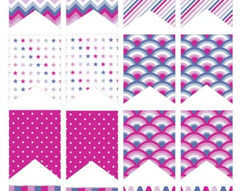 Purple Deco flag stickers (Erin Condren stickers)