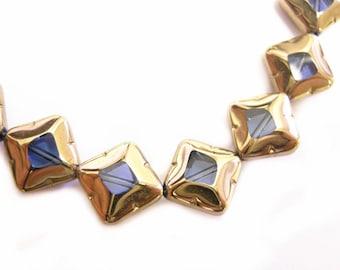 20pc 10mm copper plated  flat diamond shape glass beads-9179