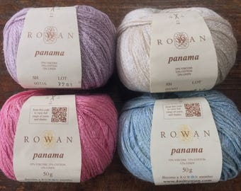 Rowan PANAMA 8.95 +1.50ea Shipping - Viscose Cotton Linen Yarn Blush 318 Lavender 316 Blue 317 Cool, Sheen Drape. MSRP 11.95