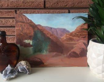 Vintage Red Rock Landspace Painting
