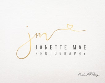 Handwritten initials logo, Gold logo watermark, Signature logo, Logo design, Premade logo, Fashion logo, Watermark logo 131