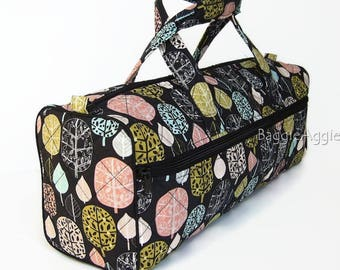 Quirky Knitting Project Bag, Hobby Bag, Black Multi Knitting Bag. Crochet Projects Bag. Mothers Day gift for knitters + crafters!