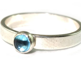 Swiss Blue Topaz Sterling Silver Stacking Ring