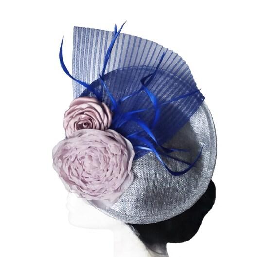 Tocado boda plateado, azul y rosa