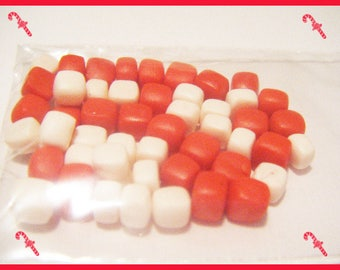 50 miniatures for jar - Christmas - red and white polymer clay Fimo
