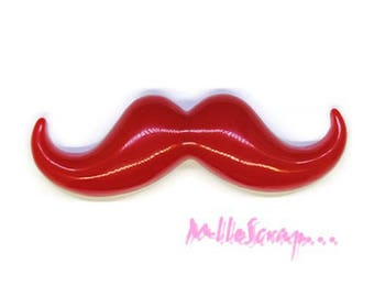 Mustache resin red embellishment scrapbooking X 1 (ref.310). *.