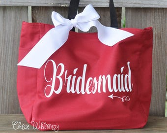 Bridesmaid Tote, Bridesmaid Goody Bag, Personalized Bag, Tote with Large Print, Monogrammed Purse, Bridal Party Gifts, Bridesmaid Tote