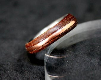Wood and copper ring size US 9 natural