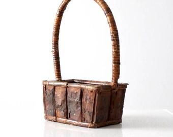 rustic wood handle basket, vintage gathering bark basket
