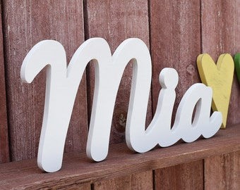 Large Baby Name Sign - Mia - Wooden name signs for nursery decor - Wood baby name sign