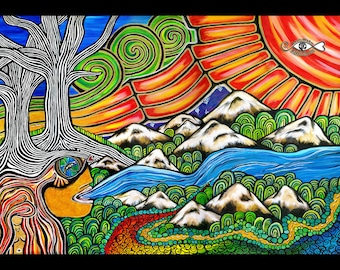 Water is Life. PRINT by L.Wake. Take Care of our Rivers. Be Grateful for Clean Water. Respect Creation. Water Protector. Love The Land