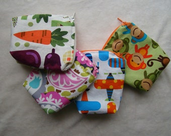 """Made to Order: Set of 2 Mini Snack Bags, 4""""X4"""" with gusset."""