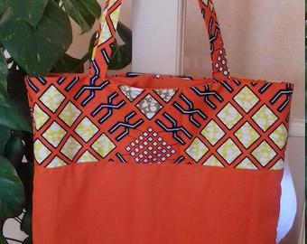Cotton tote bag wax lined. Unique piece. Orixas collection.