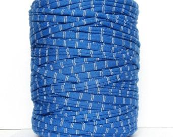 Blue striped T-shirt yarn,  recycled cotton yarn, zpagetti yarn, spaghetti yarn,macrame, trapillo