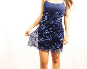90s Denim Flower Dress Size 3 (Small)